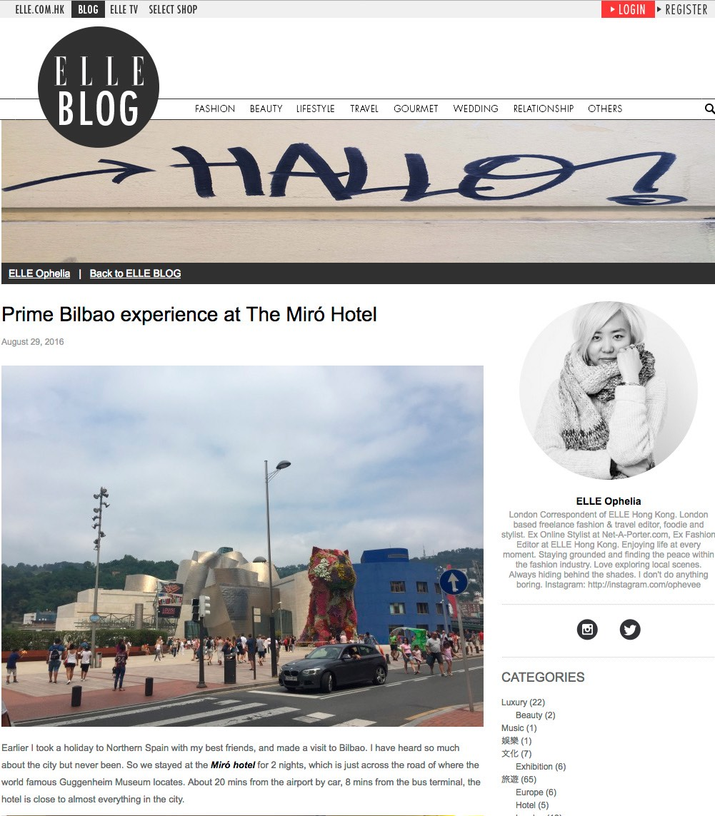 Prime Bilbao experience at The Miró Hotel